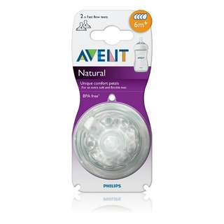 Philips AVENT NATURAL FAST FLOW TEATS 6M+ (4 HOLES)-TWIN PACK