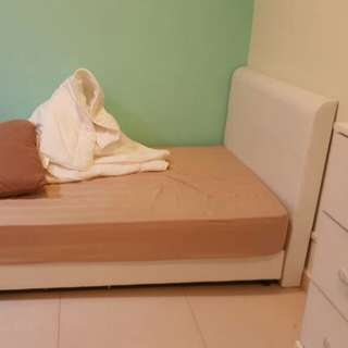 Super single bed set (white)(as-is)