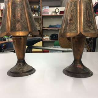 Vintage copper craft table lamp