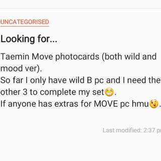 (WTB) Taemin Move photocards