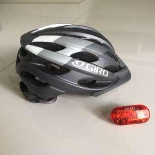 GIRO helmet and CATEYE rear light