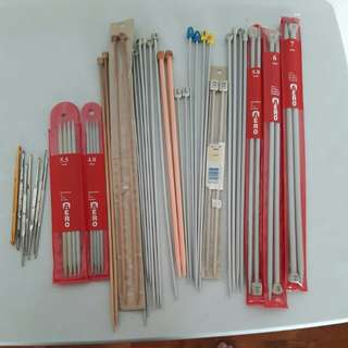 Assorted Knitting and Crochet Needles