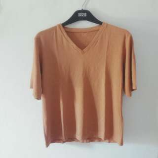 V Neck Shirt Brown