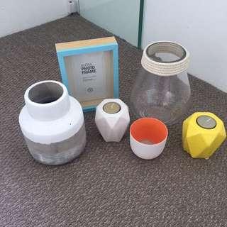 Vase, candle holders, frame