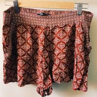 sportsgirl bohemian/hippy/festival style flowy shorts, women's size 14