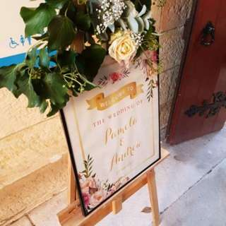 Wooden easels for hire, great for a welcome sign for your wedding or party.