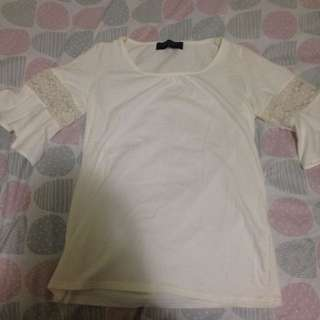 Bell Sleeve Top With Lace