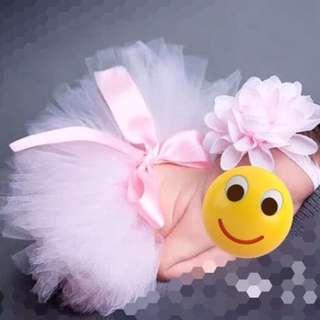 初生嬰兒bb攝影拍照道具服飾服裝芭蕾舞小公主粉紅色裙自拍DIY