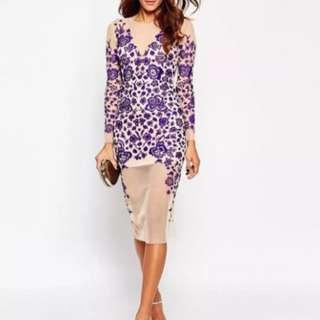 Beautiful embroidered ASOS purple + nude mesh dress
