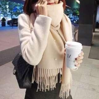 韓國純色流蘇珍珠羊絨圍巾披肩(裸色、米白色)
