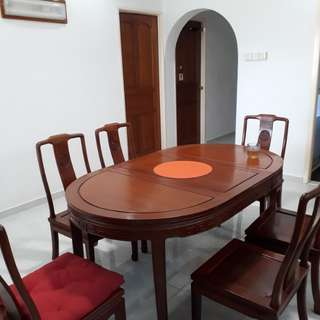 Rose Wood 6 seater Table and chair set