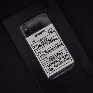 Vetements iPhoneX Mobile Phone Case (Apple X Grey)