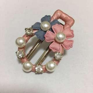 手作 - 珍珠水鑽圓型髮夾 (粉色)