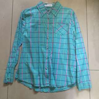 東京著衣 格紋襯衫 襯衫 長袖襯衫 湖水綠 m號