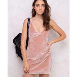 MINKPINK Luxe Velvet Slip Dress Blush