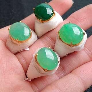 Grade A Green Cabochon Jadeite Jade Men's Rings