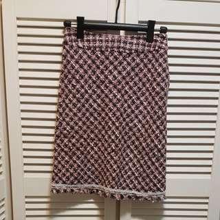 Suzuya 粉紅黑格仔半截裙(S)