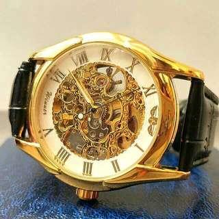 全自動機械金鋼陀飛輪真皮手錶 Automatic Mechanical Gold Steel Tourbillon Genuine Leather Watch