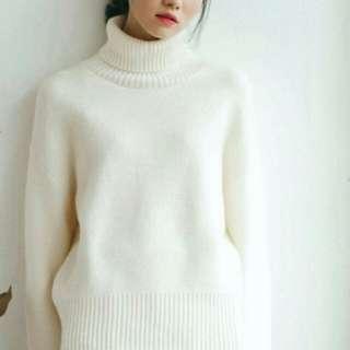 寬鬆針織高領毛衣