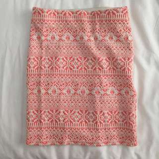 BERSHKA Pink and White Aztec Print Tight Mini Skirt