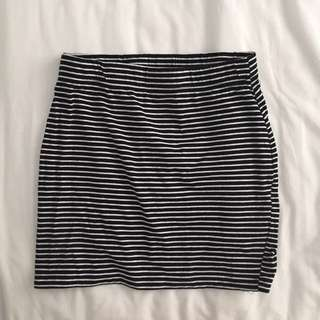 FACTORIE Black and White Striped Tight Mini Skirt