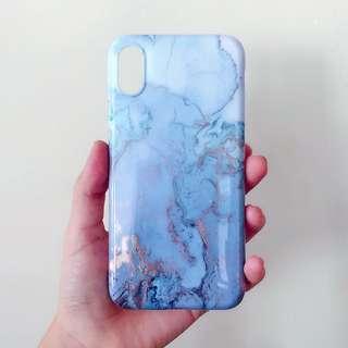 Iphone X case blue marble 手機殻 雲石 藍 軟殻