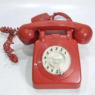 懷舊 香港電話公司 紅色攪盤電話(紅色少見)