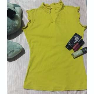Repriced! Cute Yellow Sleeveless Blouse