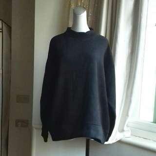 日系精品 暗黑風 小高領 刷毛 寬鬆落肩棉T恤