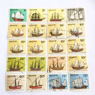 Chinese Junks S'pore Old Stamps