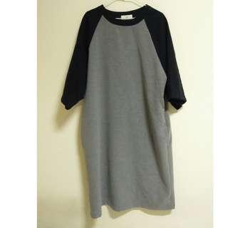 🚚 0_1 毛料寬袖洋裝 拼接色 已絕版 林羿 台灣設計師