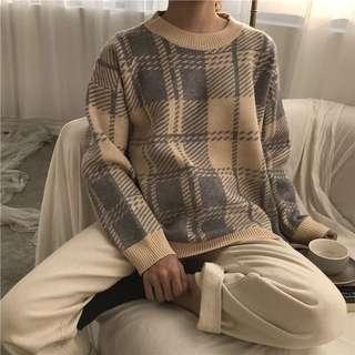 慵懶加厚格紋針織毛衣