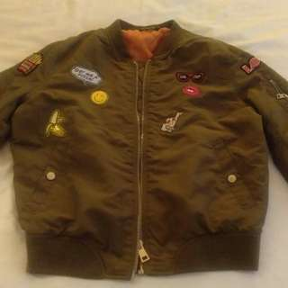 stradivarius bomber patch jacket