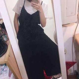 pazzo 黑色細肩帶連身褲綁帶寬褲闊腿褲v領洋裝