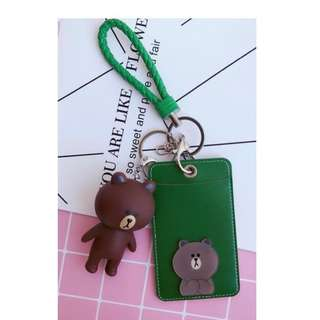 #1212YES Chritmas Line Friends brown bear Cony blue white Card Holder PU green Card Holder cute rabbit gift present birthday bus mrt ezlink Keychain charm figure Korean cartoon