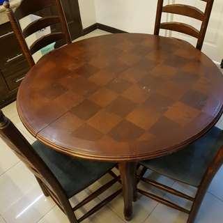French Walnut Dining Table and Chairs