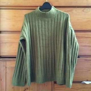 全新💚軍綠色高領毛衣