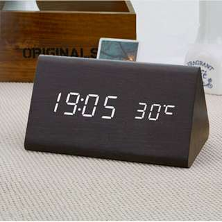 [GREAT BUY] Wooden Multi-functional Modern LED Digital Desk Clock, Portable Clock, Classy And Affordable, Table Clock, Office And Home Decor, Ready Local Stock, Local Delivery, 150×65×75mm, LARGER SIZE Triangle