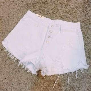 全新純白高腰性感破損款牛仔短褲