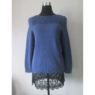 Cute Blue Knitted Sweater Top