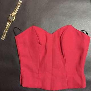 Red crop top / Corset top