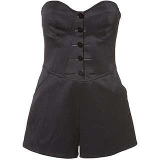 Topshop Black Corset Boned Playsuit Jumpsuit Romper UK8