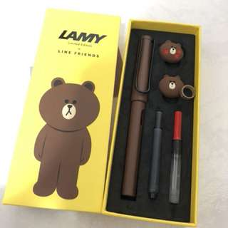LINE x LAMY Brown Fountain Pen Set