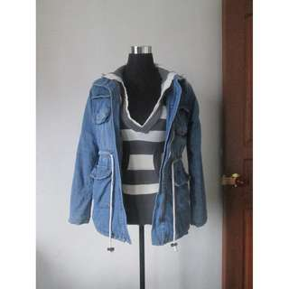 Denim Parka Jacket with Furry inner detail