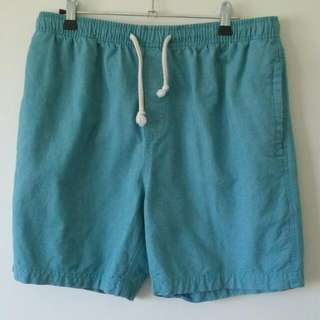 Men's Blue Summer Shorts W/ Elastic Waist (Size L)