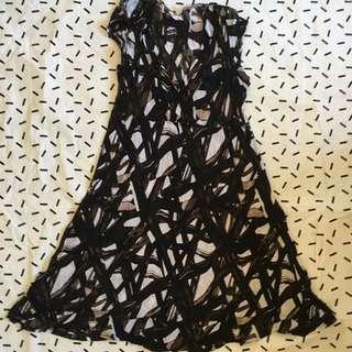 Black Patterned Dress Size L