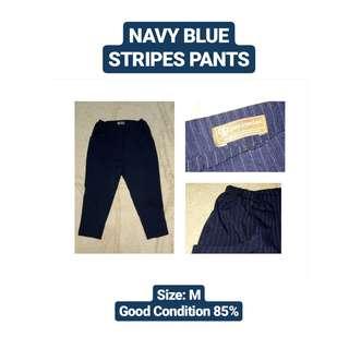 Navy Blue Stripes Pants