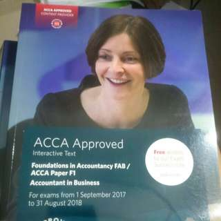 ACCA F1 F2 F3 textbook, revision kit and study notes