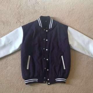 XL Varsity Jacket - Purple with white leather sleeves