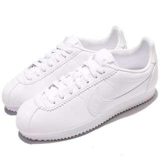 Nike全白皮質阿甘鞋22.5-28cm